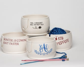 Personalized Yarn Bowl | Gift for Mom | Yarn Bowl | Custom Yarn Bowl | Pottery and Ceramics handmade in my Charleston, SC Studio