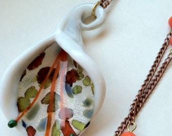 Cornucopia Necklace Calla Lily Orange Beaded Vintage Chain