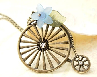 Bicycle Necklace,Bike Necklace,Biking jewelry gift for her-Sport jewelry gift for cyclist-Bicycle necklace with blue flower gift for girls