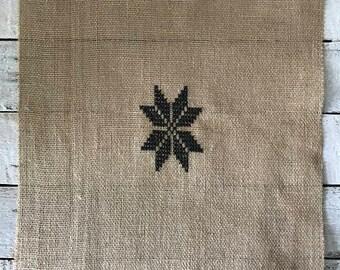 STAR,  cross stitch, embroidery, jute fabric