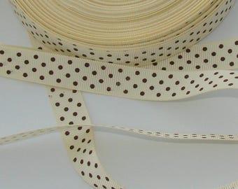 satin ribbon 3 m cream grosgrain polka dot Brown width 16mm