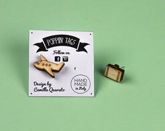 Wooden and Steel EARRINGS, laser cut, hypoallergenic: PLANE and SUITCASE