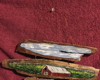 hand painted country barn scene fence