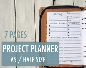 Planner Inserts, A5 Planner Inserts, A5 Planner, Filofax A5, Daily Planner, Project Planner, Goal Planner, To Do List, Printable Planner A5