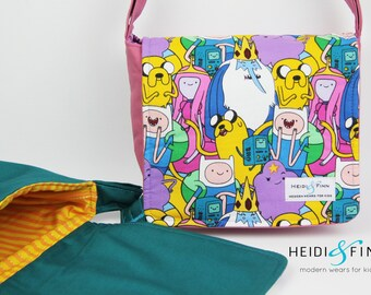 SALE Adventure time cossbody messenger bag teal pink ready to ship