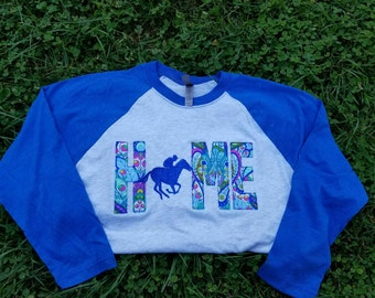 Ky home with race horse baseball tee