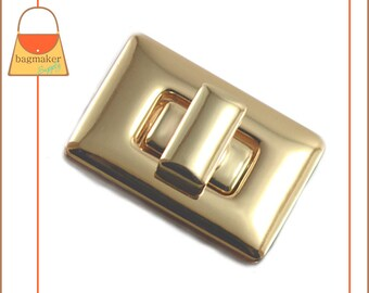 Rectangle / Square Turn Lock, Gold Finish, 1 Set, Turns Automatically! Handbag Purse Closure Hardware Supplies, CSP-AA029