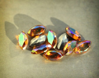 8x4mm Vintage Topaz AB Navettes, Foiled Backs, Western Germany, West Germany, Quantity 10