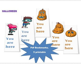 Bookmarks PDF, halloween, 5 printable digital design, bookmarks printable, bookmarks, halloween, bookmarks