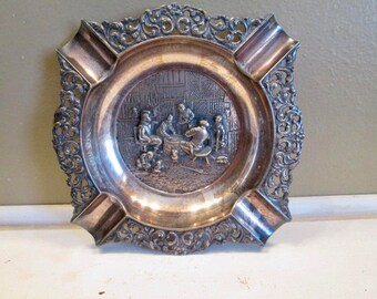 Sale Highly Detailed Embossed Silverplate Ashtray