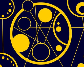 Gallifreyan, Morning,  Digital Download Poster in Blue and Gold A4