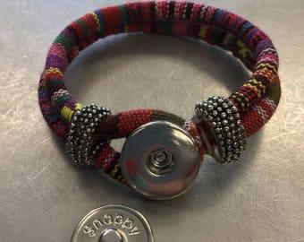 Snappy Chicks multi color woven bracelet .