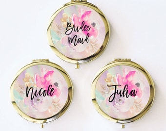 Bridal Shower Favors Mirror Compacts - Bridesmaid Mirrors - Personalized Bridesmaid Gifts (EB3166FL)