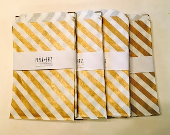 20 BIG Paper bags - Metallic Gold Diagonal Stripe - Package embellishment - Goodie bags - Popcorn bags - BBQ - Food - Candy -