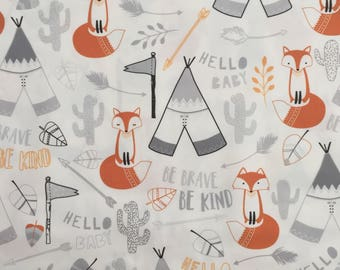 custom bandana bib ~ gray/orange brave fox ~  drool bib ~ chic couture ~ baby accessories ~ custom bandana bib from lillybelle designs