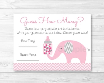 Pink Elephant Guess How Many Game / Elephant Baby Shower / Chevron Elephant / Baby Shower Game / Candy Guessing Game / INSTANT DOWNLOAD A203