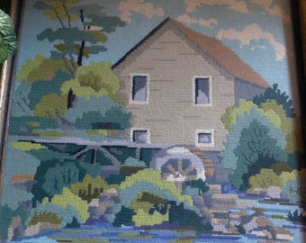 """Framed Needlepoint Mill House and Water Wheel 16.75"""" x 16.75"""""""