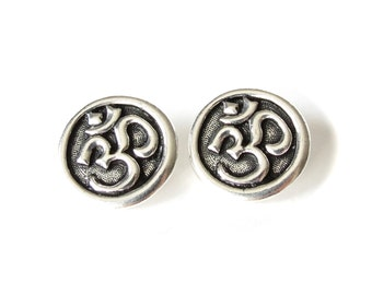 2x Om buttons antique silver finish, TierraCast button with shank, beading supplies, wholesale buttons UK, metal buttons UK