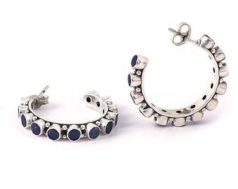 Lapis silver earring