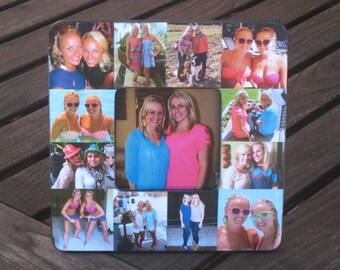 """Personalized Sister Gift, Bridesmaid Collage Picture Frame, Custom Maid of Honor Frame, Bridal Shower, Parent, Best Friend Gift, 8"""" x 8"""""""
