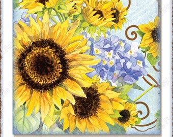INSTANT DOWNLOAD Sunflower Swirl 5x7 inch card front 4 in square hanging tags AJR-308 sunflowers butterfly butterflies blue hydrangeas