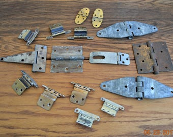 16 Assortment of Hinges ,Vintage,6 sets of 2 ,Woodworking supplies,salvage ,Junk Drawer