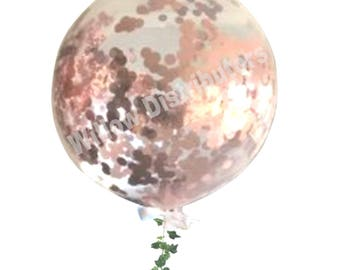 Giant Round Clear Confetti Balloon - Rose Gold 90cm