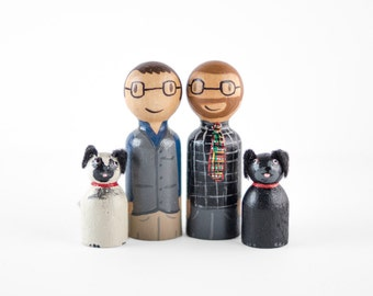 Mr and Mr Cake Topper - Gay Cake Topper - couple with dogs  cake topper - gay topper with dogs - same sex topper - gay wedding cake topper