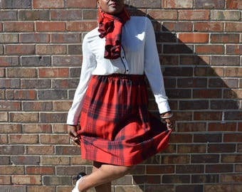 Red and Black Plaid School Girl Skirt// Matching Scarf/Jacket