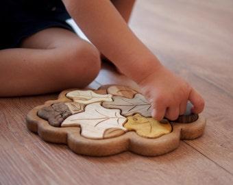 Blatt Holzpuzzle, natürliche Baby-Spielzeug, Montessori Spielzeug, Spielzeug, Holz Puzzle, Holz Spielzeug Kleinkind, Bio Spielzeug