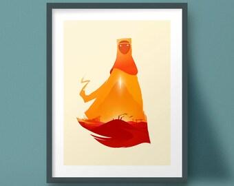 Journey Art Print Video Game Poster Landscape Design