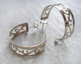 Silver Hoop Earrings - Ornate Hoop Earrings - Floral Hoop Earrings - Sterling Silver Hoop Earrings - Free UK Shipping