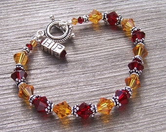 Harry Potter Inspired Gryffindor House Colors Bracelet with Sterling Silver and Swarovski Crystals