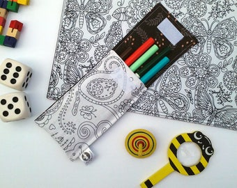 Large pouch to markers and 5 washable markers. Paisley pattern, Interior Brown with leaves. Coloring, Mandala, Color Pencil case