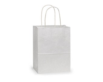"""12 Small White Paper Gift Bags, White Gift Bags with Handles, White Handle Gift Bag .  5-1/4""""x3-1/2""""x8-1/4"""" Rose"""