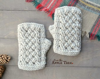 Celtic Weave Fingerless Gloves, Wrist Warmers