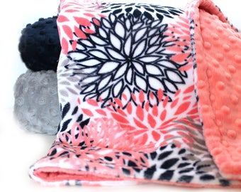 Coral Minky Baby Blanket, Personalized Baby Blanket, Floral Baby Blanket Navy Flower Baby Girl Coral Baby Blanket Baby shower gift Baby Gift