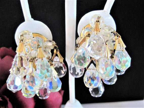 Crystal Cha Cha Earrings, Glass Faceted Crystals, Mid Century Clip Ons