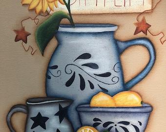Primitive 11 x 14 Gallery Wrapped Canvas-Crocks-Lemons-Simplify- Home Wall Decor