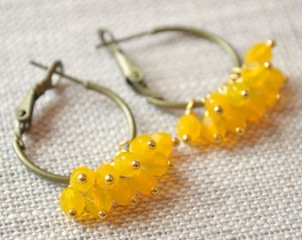 Yellow Earrings, Antiqued Brass Hoops, Bright Czech Glass Bead Cluster, Colorful, Gold Plated, Mixed Metal, Summer Jewelry