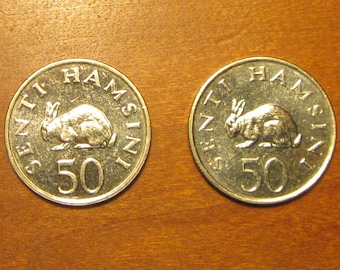 Rabbit 2 Coin Lot, 50 senti coins of 1989, matching pair, tanzania africa,for collectors craft supply jewelry making, hare