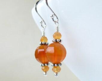 Fire lantern Earrings Sterling silver carnelian gems