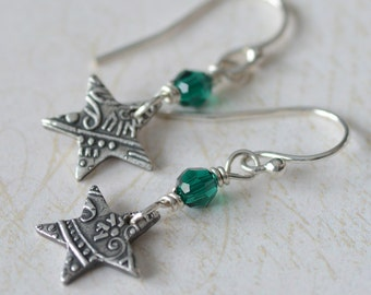 Star Charm Earrings Fine Silver Paisley Textured Stars Sterling Silver Jewelry Let that Graduate Know She's a Star Christmas Green