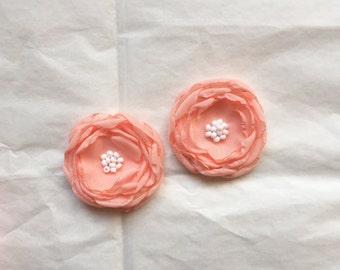 Peach chiffon flower hair clip. Peach hair accessory. Burnt edge chiffon flower. Pearl cluster center. Peach flower clip. Special occasion.
