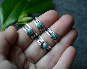Kingman Turquoise Stacker Ring Trio in Sterling