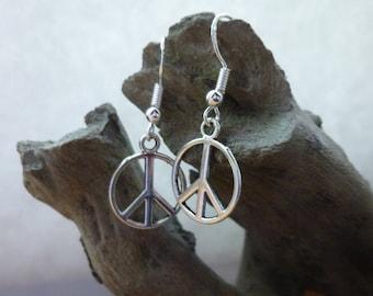 Pretty Silver Peace sign earrings, silver earrings