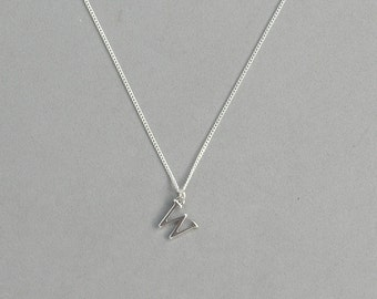 Silver Plated Initial W Necklace 113