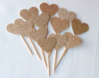 12 DOUBLE SIDED Rose gold glitter Heart cupcake toppers, rustic wedding cupcake toppers, rose gold wedding, rose gold cupcake toppers, i do