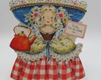 Vintage Hallmark Paper Doll Card Unused, Hallmark Land of Make Believe Dolls, No. 15 Polly Put the Kettle On Hallmark Collectors Paper Doll