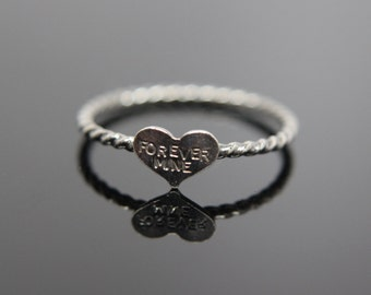 Sweetheart ring. Sterling silver heart ring. Valentine and Lover ring.